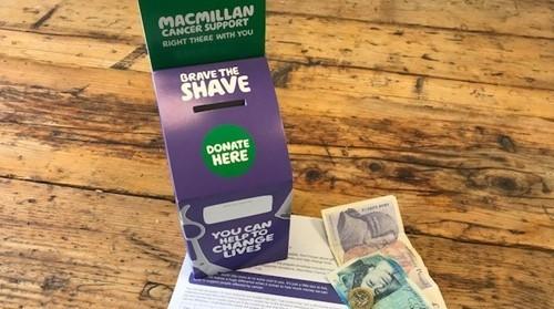 Macmillan fundraising paper box